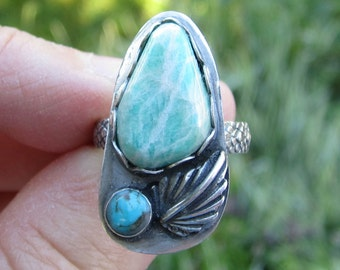 Tree Agate and Turquoise Sterling Silver Ring - Size 6 3/4