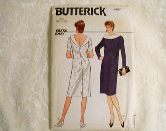 Butterick Pattern - 4857 - Misses Dress - Size 14-16-18 - Factory Fold, Uncut Pattern