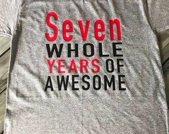 Personalized 7th Birthday Shirt, Kids Birthday Party Shirt