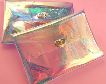 Holographic bag, transparent bag, petrol clutch, sparkly chameleon handbag, mermaids bag, 90s Clutch, OOAK bag, pink party bag, vegan bag
