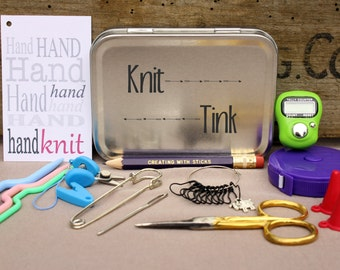 Knitting Notions Tin- Knit Tink, Project Bag Tool Tin, Knitting Notions, Knitting Tool Box, Gift for Knitters, Knitting Kit, Notions