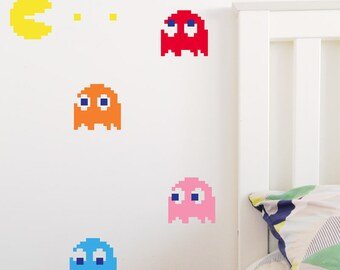 PAC MAN & GHOSTS Wall Stickers, Removable Decal, Made In Australia