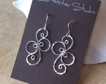 Fancy Spiral Sterling Silver Earrings, Argentium Silver