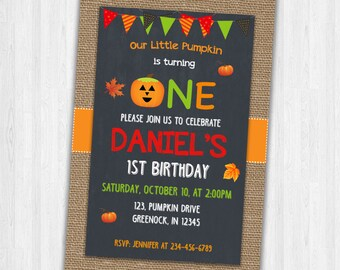 Halloween Birthday Invites, Baby's first Birthday invitation, Birthday Party Invitations, Halloween Invitations
