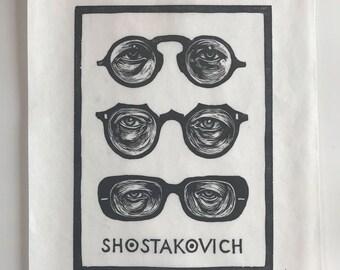 Shostakovich Woodblock Print