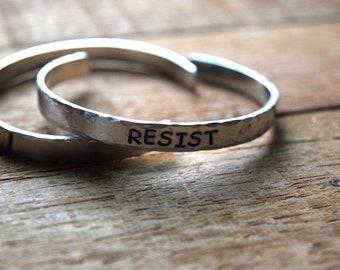 Resist bracelet, resistance, feminist, #resist, hand stamped bracelet, message of encouragement, political jewelry