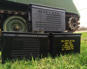 Best Man Groomsmen Gifts - Personalized Ammo Box - Custom Ammo Can - Wedding Props