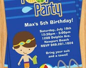 Kids Pool Party Birthday Invitation