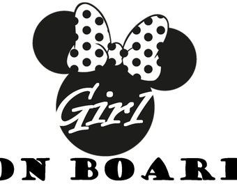 girl on board minny mousse sticker vinyl for car and other