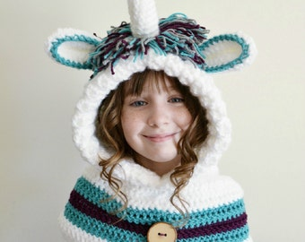 Unicorn Hat - Unicorn Hoodie - Unicorn Cowl - Animal Hat - Hooded Scarf - Crochet Hoodie - Chunky Crochet Hat