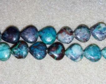 SALE! Chrysocolla beads teardrop beads blue stone beads brown stone beads blue and brown stone beads