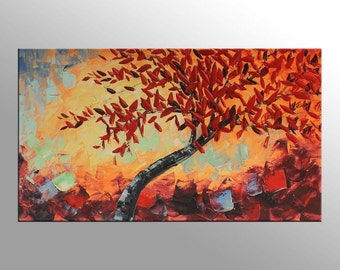 Tree Painting Painting Red Willow Painting Original Painting Canvas Painting Impasto Texture Painting Palette Knife Oil Painting