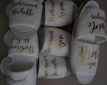 White Wedding slippers Personalised, bridal party slippers, wedding slippers,  bridal slippers, bridesmaid slippers