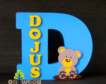 Personalized nursery name. Free standing capital letter with name and bear decoration. Wooden letters. Nursery decor.