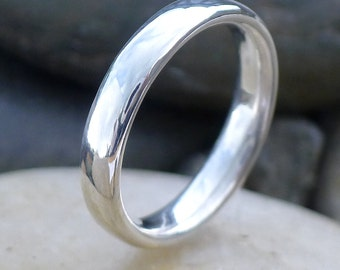 Comfort Fit Sterling Silver Ring, Handmade to Size, 4mm Court Shape Band, Ethical Sterling Silver