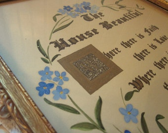 vintage framed House Blessing, The House Beautiful, Blue Forget Me Not flowers on tan, gold & black script lettering, shabby cottage decor