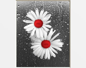 Red Gray Bathroom Bedroom Wall Art, Daisy Flowers, Raindrops, Modern Red Floral Artwork Home Decor Matted Picture