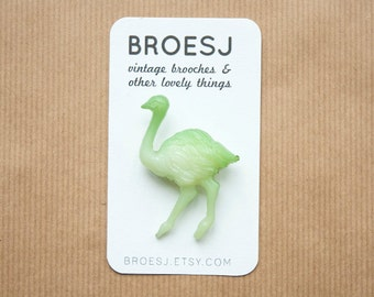 Ostrich Brooch Green Vintage