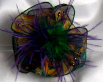 Small flower fabric & feather hair clip and 240 beads