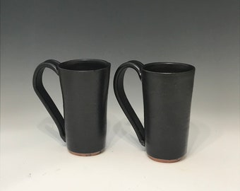 Matt Black Coffee Mug in Red Stoneware - Tea Mug  Hot Chocolate Mug Pottery Mug Earthy Mug Ceramic Black Mug