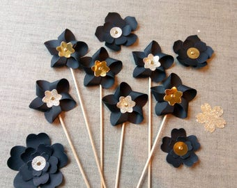 Set of 5 pinwheels black and gold