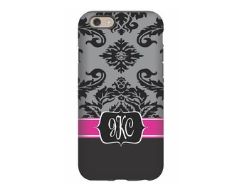 iPhone case, Black Pink Damask, Personalized iPhone 8, iPhone 7, iPhone 6 Tin Tree Gifts Monogram Gift for Women