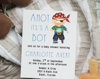 Ahoy it's a boy baby shower invitations, simple & elegant