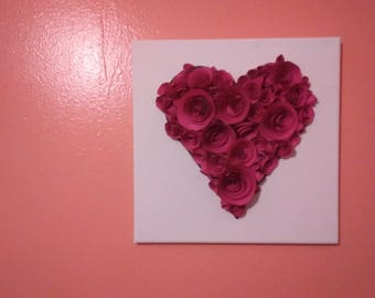 Hearts,  rolled paper wall  art..