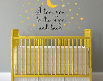 I love you to the moon Wall Decal - Moon and Stars Decal - Nursery Wall Art - I love you Wall Sticker