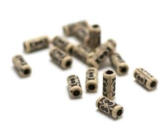 "20 Acrylic beads ""tube"" 13 x 6 mm, black tribal pattern on beige background"
