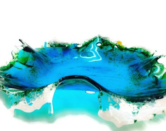 Ocean Wave Glass Plate, Turquoise Glass Plate, Ocean Home Decor, Art Glass Plate, Beach Decor, Wave Plate, Splash plate, Cottage Decor
