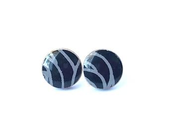 Black Ear Studs Japanese Paper, Halloween earrings, Black Earrings, Chiyogami earrings, gift under 10