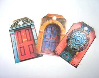 Rustic Door Tags -  Set of 12  - European Doors - Gift Tags - Architecture Tags - Unique Doors - Thank Yous - Doorway Tags - Merchandise Tag
