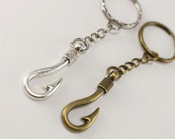 Bronze fish hook key chain - Silver Fishing keychain - fishing lanyard - nautical style - redneck country gifts - wedding gift