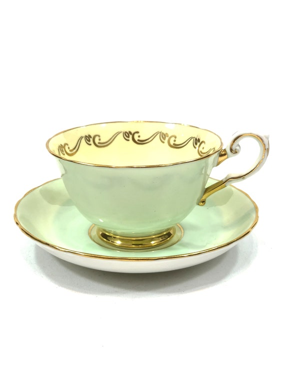 Tuscan Pale Green Yellow Tea Cup Saucer, Footed English Teacup, Gilded Rims Scroll Motif, Tea Party Shabby Chic, Vintage Bone China Teacup