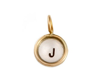 Gold Rim Pendant- small gold rimmed pendant with initial. Stamped Jewelry. Silver and Gold. Custom Personalized Pendant by jenny present