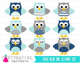 Owl ClipArt, Cute Owl Navy Blue and Gray Clipart Set, Digital Paper Pack, Instant Download - D243