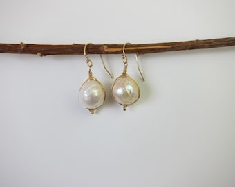 Chinese Kasumi White Pearl 14K Gold Filled Handmade Wire Wrapped Earrings
