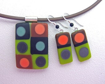 Olive Tic Tac Glass Pendant, Handmade Fused Glass Jewelry from North Carolina