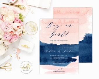 Gender Reveal Invitation, Gender Reveal Party, Gender Reveal, Gender Reveal Ideas, Watercolor, Pink, Blue, Invitations, Invites, He or She