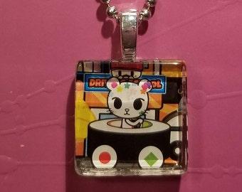 TOKIDOKI PALETTE Cat glass tile necklace