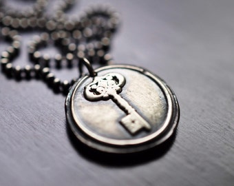 Oxidized Fine Silver Key Wax Stamp Necklace