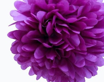 Plum Tissue Paper Pom, Plum Pom, Plum Tissue Paper Pom Pom, Plum Paper Flower, Tissue Flower, Wedding and Birthday Party Decor, Poms