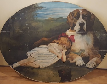 St. Bernard Protector With Sleeping Girl And Black Cat, Folk Art Painting ,Oil on Canvas, Applied to Board, Gift For Dog Lover, Folk Art