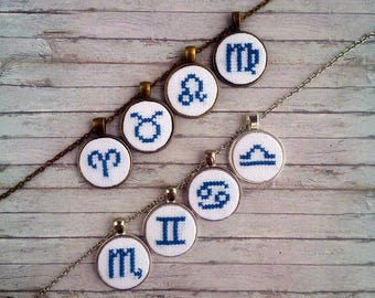 Personalized gift|for|her Embroidery zodiac jewelry for mom gift|for|sister Zodiac necklace Astrology jewelry gift|for|co worker Pisces Leo