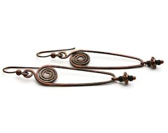 Hammered Copper Swirl Teardrop Earrings, Hammered Copper Teardrop Earrings with Swirls,  Copper Teardrop Swirl Earrings with Bead Drops