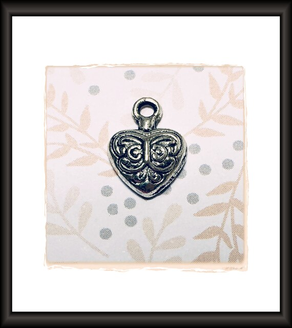 Silver Heart Charm 15 x 10 mm
