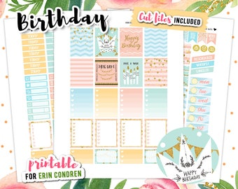 Birthday Stickers, Printable Planner Stickers, Birthday Printable, Erin Condren Planner, Planner Stickers, Printable Stickers