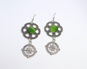 Compass Earrings--unique--