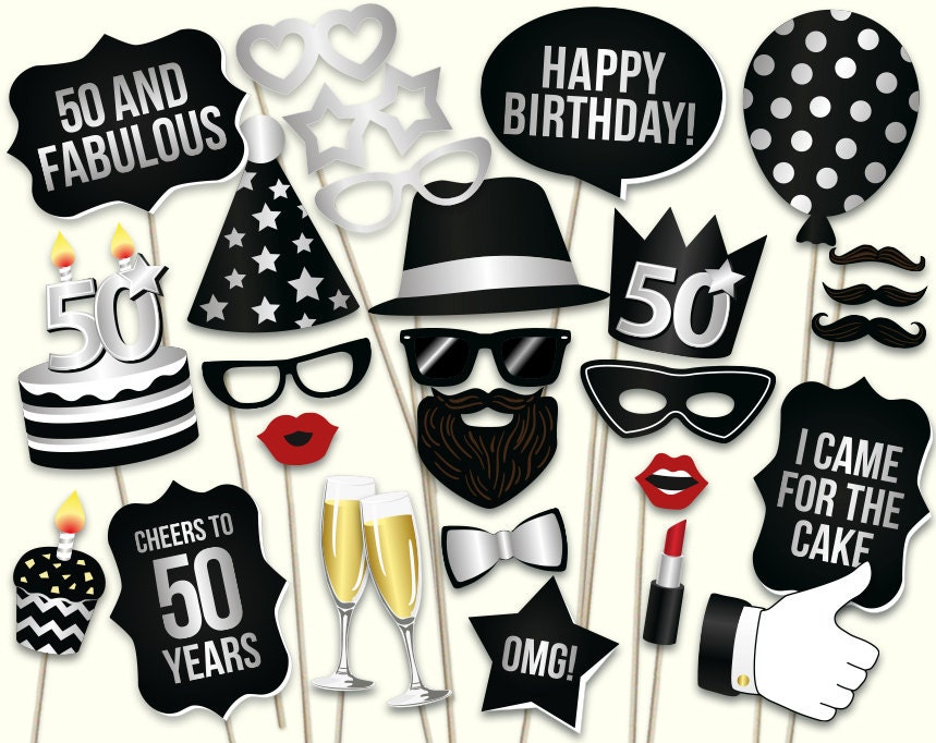 Finest 50th birthday photo booth props printable PDF. Birthday party NU61